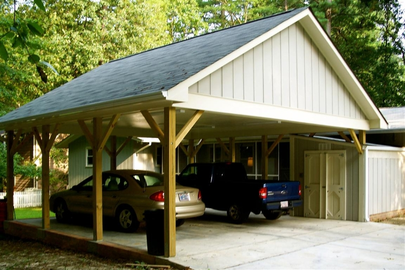 Carport loft shed garage builders of raleigh for Carport shed combo